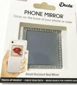 Cell Phone Mirror Silver Bling Square Crystals Peel And Stick New Glam idecoz