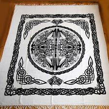 Tagesdecke Bettüberwurf 250x220cm Baumwolle MYTHOS Weiß Schwarz Wikinger Celtic