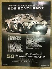 Autographed Poster - Bob Bondurant (50th Anniversary / Shelby Cobra Driver)