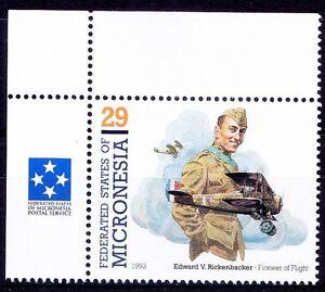 Edward Rickenbacker American fighter WWI Aviation Micronesia 1993 MNH Corner