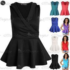 Polyester Collared Sleeveless Peplum Dresses for Women