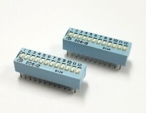 Lot of 2 CTS # 206-12, 12 Position DIP Switches, SPST ON-OFF Function 50mA@24VDC