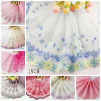 Delicate 1 Yard Embroidered Flower Tulle Lace trim  for DIY/sewing/craft Lace E