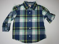 New Gymboree Ice All-Star Line Blue Plaid Button Down Shirt size 18-24M NWT