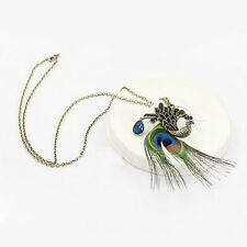 Vintage Stylish Crystal Rhinestone Peacock Feather Pendant Long Chain Necklace
