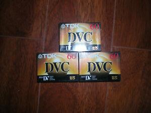TDK (3) Bundle Mini DVC (Digital Video Cassette) 60 minutes. New Factory Sealed.