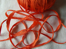 MERCERIE ANCIENNE RUBAN TRESSE lacet  orange 1,50X5MM☺RUBBON