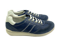Ecco Womens Shoes 37 Blue Suede Leather Lace Up Comfort Sneakers