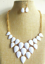 Vintage style White Gold Plated Enamel Pendant Necklace Earrings Bridal