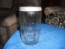 VINTAGE HOOSIER RIBBED GLASS COFFEE JAR WITH ALUMINUM LID