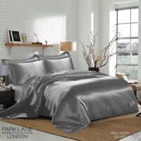 SATIN/SILK 6 Pcs Bed Set With Duvet Cover+Fitted Sheet+4 Pillow Case, Silver