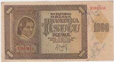 Croatia Hrvatska banknotes - 1000 kuna 1941 - WWII NDH USTASE !