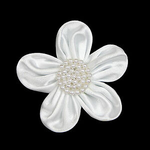 """Lily 2.5"""" Hand Sewn Satin Pearl Beaded Flower White Blue Green Ivory Peach Pink"""