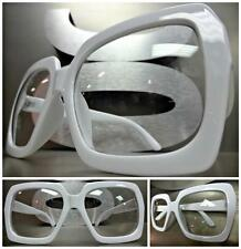 HUGE OVERSIZE 70s VINTAGE Style Clear Lens EYE GLASSES Thick White Fashion Frame