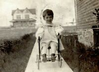 1909 Victorian Boy Riding Antique Toy Cart Real Photo Postcard York PA