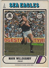 1976 SCANLENS RUGBY LEAGUE CARD #5: MARK WILLOUGHBY - MANLY WARRINGAH SEA EAGLES