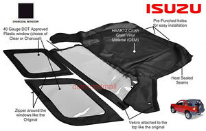 Isuzu Amigo  Rodeo 1998-2002 Convertible Soft Top & 3 Charcoal Windows