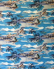 Tropical cotton fabric Hawaii Island Beach Hut half yard cut 1/2 blue Palm Tree