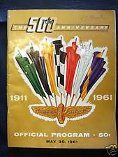 INDIANAPOLIS 500 OFFICIAL PROGRAMME PROGRAM 1961 RACE
