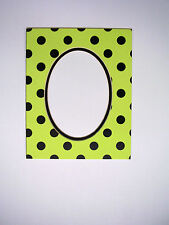 Picture Framing Mat 8x10 for 5x7 photo Polka Dot Green and Black Oval Cutout Mat