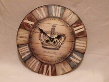 RETRO SHABBY CHIC STYLE CROWN DESIGN DOMED METAL WALL CLOCK. NEW AND BOXED.