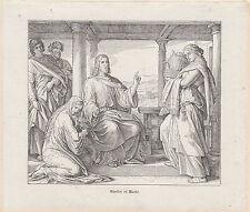 Gravure ancienne religieuse  XIXème  Jésus Marthe et Marie