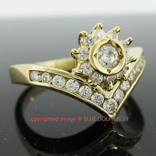 Genuine Solid 9k Yellow Gold Engagement Wedding Sun Rise Ring Simulated Diamonds