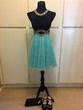 Women BLONDIE NITES Homecoming/Prom/Formal Black & Mint Blue Dress SIZE 3