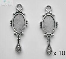 10 x Tibetan Silver Hand Mirror Girlie Vanity Princess Charm Pendant 21mm (TC25)