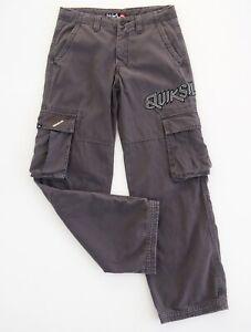 QUIKSILVER Boys Cargo Pants Size 12 Grey Drawstring Waist Embroidered Logo VGC