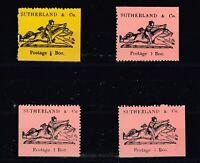Japan 1871 Sutherland Reprint Locals x 4 1/4 Boo 1 Boo x 3 Mint J9427