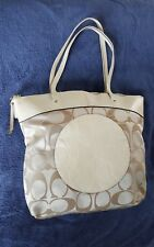COACH LAURA F18335 SIGNATURE CHAMPAGNE BEIGE SATIN AND OFF~WHITE PATENT TOTE