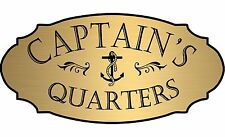 """Gold """"Captain's Quarters"""" nautical boat door sign - Free Shipping"""