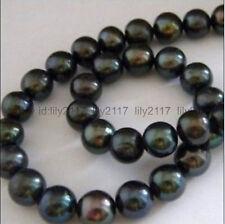 Beautiful Charming AAA+ 9-10mm Black Tahitian Pearl Bead 15inch