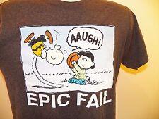 "CHARLIE BROWN & LUCY ""Epic Fail"" T-Shirt MEDIUM Peanuts Funny Humor Gag Football"