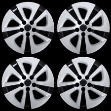 "4 Silver & Black 2016-2018 Toyota Prius 15"" Wheel Covers Hub Caps Full Rim Skins"