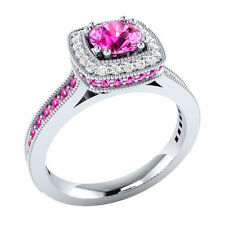 Certified 1.70Ct Pink & White Sapphire14k White Gold Engagement Ring.