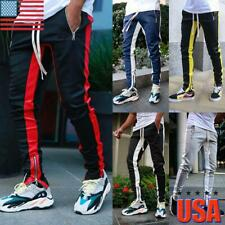 Men's Track Pants Drawstring Sports Jogging Bottoms Joggers Gym Sweats Trousers
