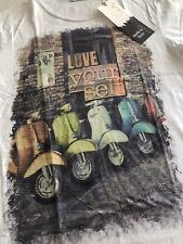 T-shirt Cotone Bianca Uomo Tg.s Stampa Vespa