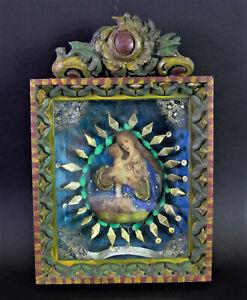 antike KLOSTERARBEIT WACHSBILD Madonna - toller geschnitzter Rahmen