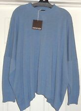 FAB! NWT New $1250 ESKANDAR linen cotton Knit Wide Mid+ round nk SWEATER OS blue