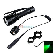 Green Led Pig Hog Hunting Tactical Flashlight W/1'' Ring Scope Laser Light Mount