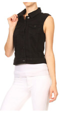 Women's Classic Denim Vest Sleeveless Cropped Fitted w/ Pockets Jeans Vest Short