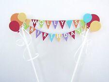 Handmade Personalised Cake Topper -Birthday Christening - Balloons - Decoration