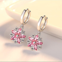Exquisite Pink Topaz Snowflake Flower Dangle Earrings 925 Silver Wedding Jewelry