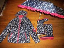 CHEROKEE NAUTICAL ANCHOR RAIN COAT JACKET SZ XL 14 16 BOOTS SZ L 4 5 & UMBRELLA