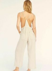 Free People Jumpsuit size S overalls cotton linen playsuit dungarees 8 10
