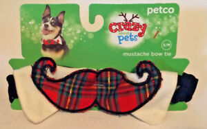 New Petco Crazy About Pets Dog Christmas Holiday Plaid Mustache Bow Tie S/M  New