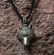 Antique Silver Plt Traditional Wolf Pendant Necklace, Ladies Mens Viking Norse