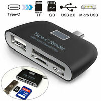 Type C to USB 3.0 OTG HUB Adapter SD/TF Micro SD Memory Card Reader With LED